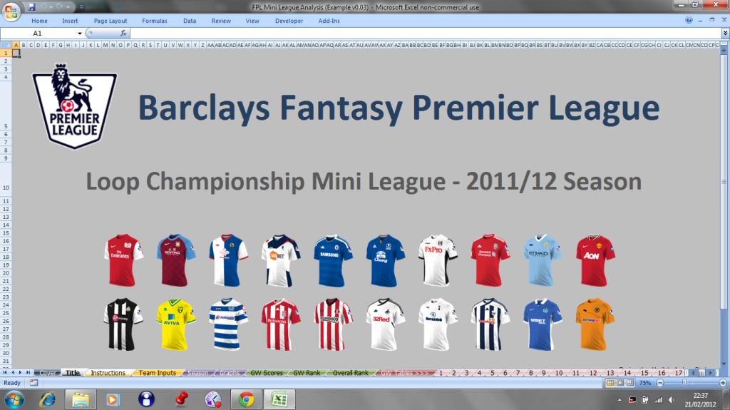 Spreadsheet Library - FPL: Mini League Analysis